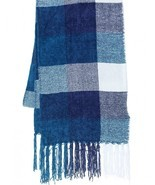 NEW Charter Club Women's Checkered Fringe Scarf Mikinos Blue - £14.36 GBP