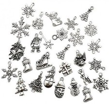 Christmas Charms-100g (about 75pcs) Craft Supplies Mixed Pendants Beads... - $20.37