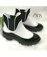 ZARA FLAT HEEL ANKLE BOOTS WITH PIPING SIZE 6 - $69.99