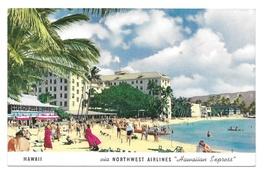 HI Waikiki Beach Hawaii Northwest Airlines Hawaiian Express Advertising ... - $4.99