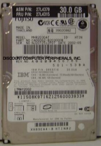 "MHR2030AT Fujitsu 30GB 2.5"" IDE Drive Tested Good Free USA Ship Our Drives Work"