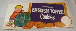 VINTAGE 1950-60's ENGLISH TOFFEE COOKIES  DISPLAY/ AD POSTER - $12.34