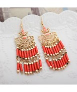 Bohemian Beaded Fringes Tassel Drop Earrings - $18.00