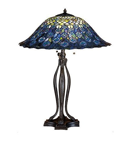 """Meyda Tiffany 28504 Peacock Feather Table Lamp, 30"""" Height for sale  USA"""