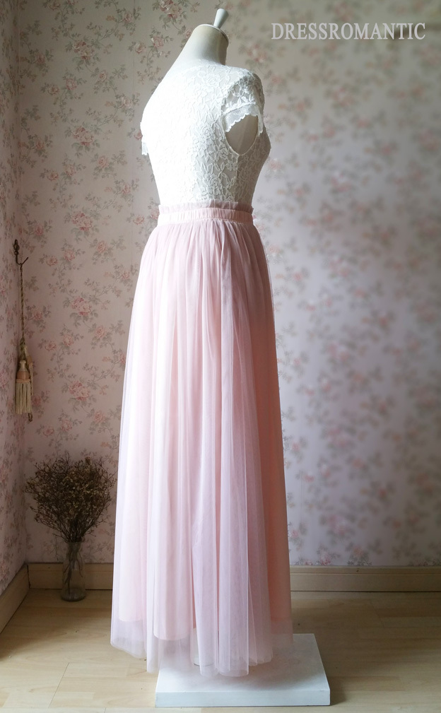 Blush High Waisted Tulle Maxi Skirt Blush Bridesmaid Skirts Full Length NWT image 4