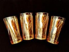 "Iridescent Peach Lustre Tumbler LOT 10 oz Swirl Pattern Marigold Luster Glass 5"" - $34.63"