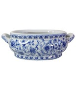 "Blue and White Porcelain Floral Chinoiserie Foot Bath 16"" Handle to Handle - $188.09"