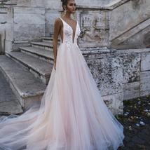 Sexy Deep V-neck Princess A-Line Sleeveless Bridal Gown Beaded Floral Appliques image 2