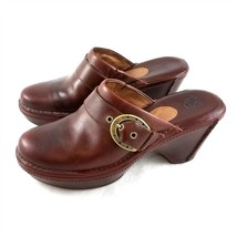 Ariat Brown Leather Clogs Slip On Shoes Buckle Accents Womens 9 B Style 22231 - $49.38