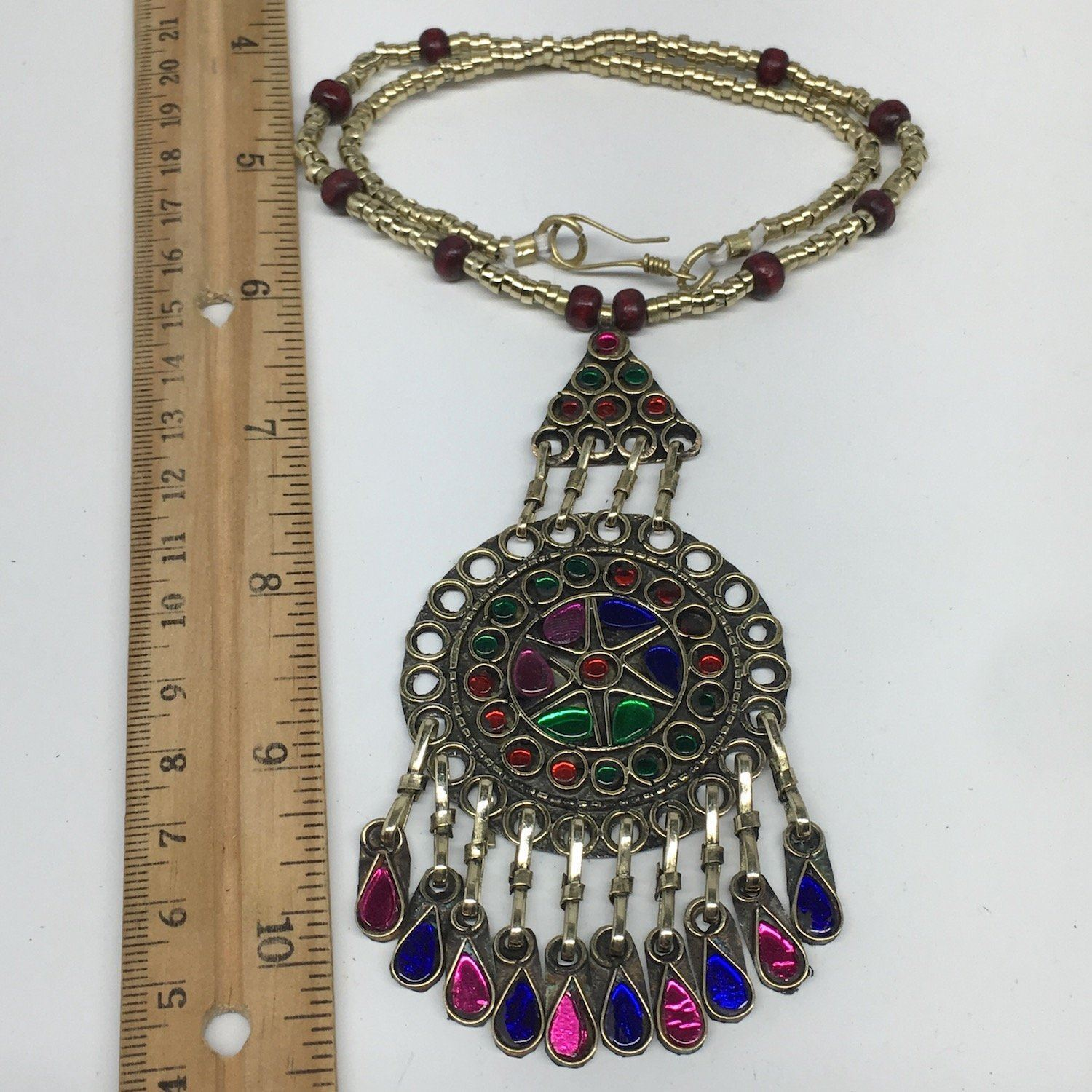 Kuchi Necklace Afghan Tribal Fashion Colorful Glass ATS Necktie Necklace, KN419