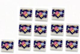 Dollhouse Porcelain Tiles 1.791/3 Reutter Blue Royale Flowers 12-pc  Miniature - $23.00