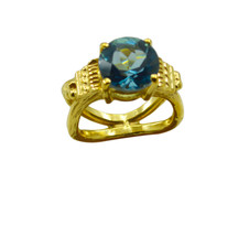 adorable Blue Topaz CZ Gold Plated Blue Ring Natural india  US gift - $17.99