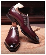 Maroon Plain Pointed Toe Oxford Party Wear Magnificiant Leather Lace Up Shoes - $99.99 - $139.99