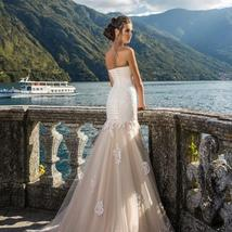 Strapless Mermaid Wedding Dresses Natural Slim Bridal Gown Lace Embroidered Trim image 2