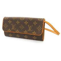 LOUIS VUITTON Pochette Twin PM Monogram Canvas Clutch Bag Cross Bag M518... - $568.15