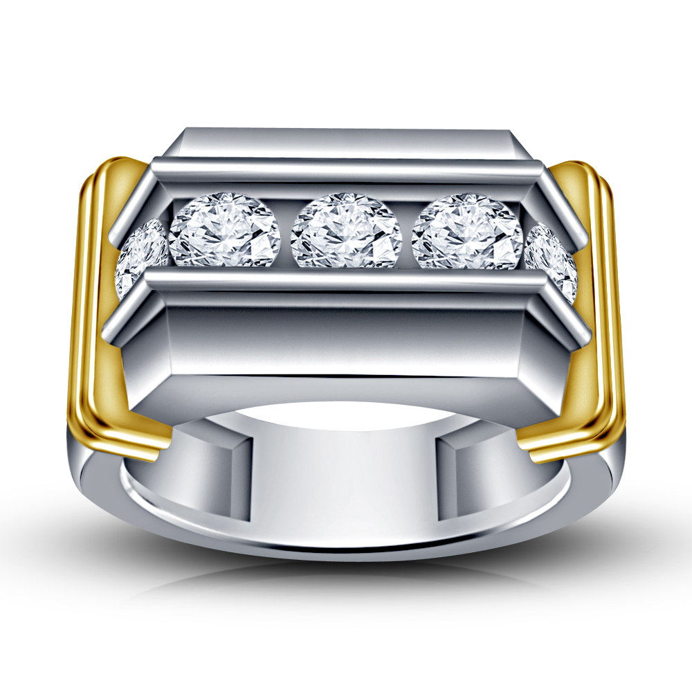 Primary image for 14k White Gold Finish 925 Pure Sterling Silver Men's Diamond Band Wedding Ring