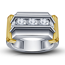 14k White Gold Finish 925 Pure Sterling Silver Men's Diamond Band Wedding Ring - $82.45