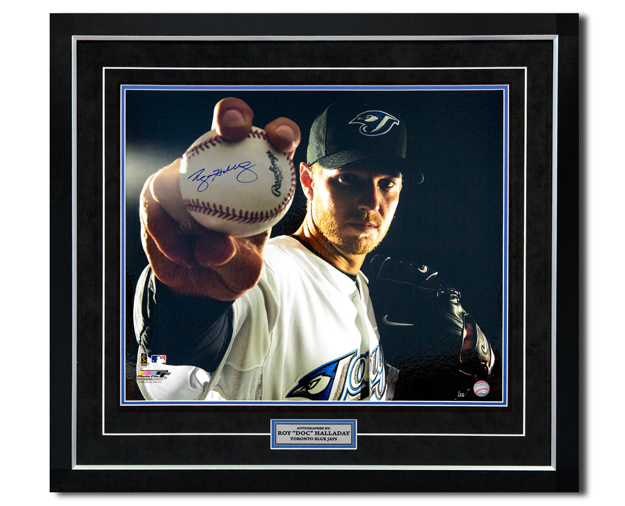 Primary image for Roy Halladay Toronto Blue Jays Autographed Baseball Close-Up 30x33 Frame #/32