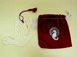 Older Waterford Crystal Dove Ornament w Red Velvet Bag 2 3/4 Inches T60 - $39.11