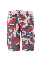 Men's Multi Pocket Cotton Camo Army Cargo Shorts With Knitted Double Ring Belt image 2