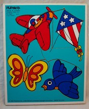 1982 Vintage Playskool Things That Fly 4 Piece Wooden Frame Tray Puzzle 180-02 - $14.85