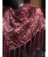 Vintage Burgundy Velvet Beaded Tassle Triagle Wrap Shawl - $46.10