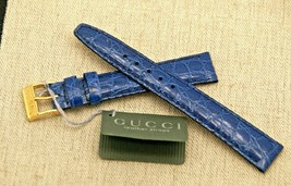 New Gucci 14 MM  Croco Pattern on Genuine Leather Watch Band - Blue - 14... - $26.95+