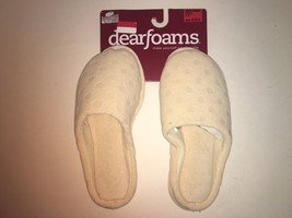 Dearfoams NEW womens slippers cream dots small size 5-6 slip on closed toe - £11.55 GBP