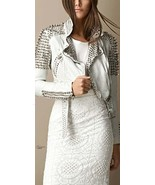 Handcrafted Women Silver Long Studded Genuine Leather Jacket Spiked Studded - $249.99