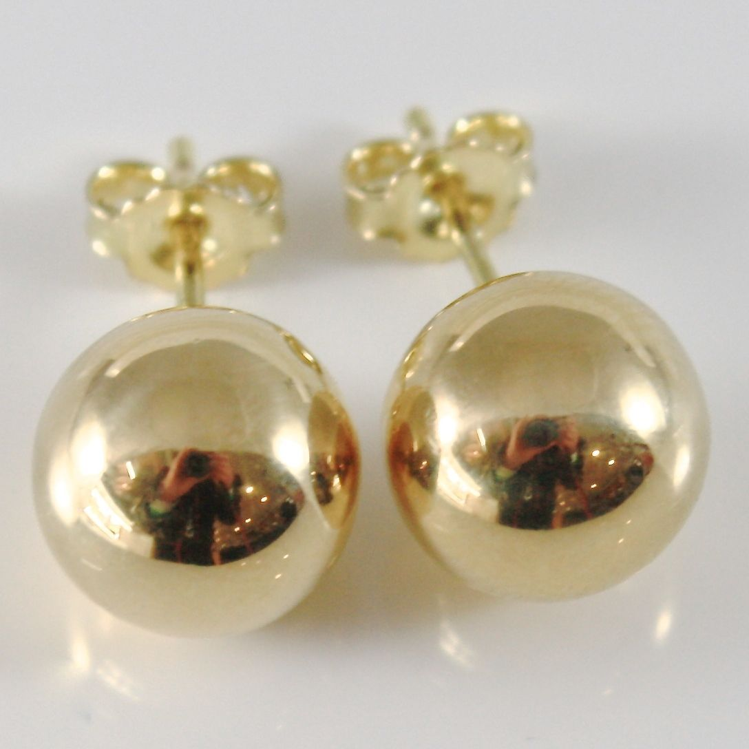 18K YELLOW GOLD EARRINGS WITH BIG 10 MM BALLS BALL ROUND SPHERE, MADE IN ITALY