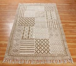 Hand Block Printed Cotton Area Rugs Indian Handmade Dhurries Modern Carpet - $39.60+