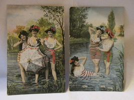 Antique Bathing Beauties Postcards, Striped Suits and Hats - Unposted - $9.99