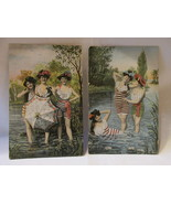 Antique Bathing Beauties Postcards, Striped Suits and Hats - Unposted - £7.65 GBP