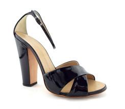 GIUSEPPE ZANOTTI Size 8.5 Black Patent Criss Cross Ankle Strap Heels Sho... - $156.89 CAD