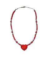Red Carnelian/Bali Silver Beads Sterling Silver Necklace/28x20mm Heart E... - $87.99