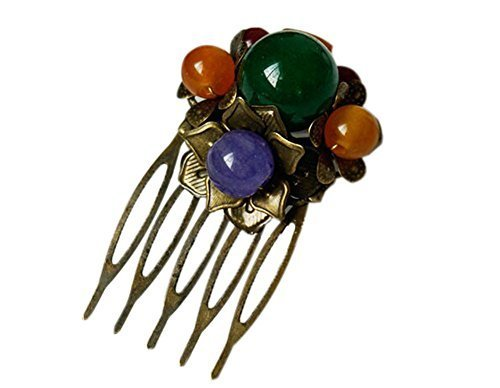 Set Of 2 Charming Traditional National Beads Hair Combs Accessory