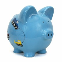 Child to Cherish Ceramic Piggy Bank for Boys, Construction Trucks, Blue - $34.64