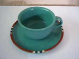 DANSK MESA STONEWARE CUP & PLATE (SAUCER) SET TURQUOISE RARE - $775,81 MXN