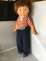My Friend Mikey 1981 Fisher Price Boy Freckles Vinyl Cloth Doll Jeans D - $19.79