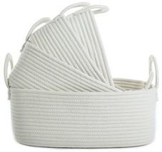 Storage Baskets Set of 4 - Woven Basket Cotton Rope Bin, Small White Bas... - $50.67