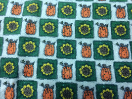 Pumpkin Patch and Sunflowers Flannel Print 100% Cotton Flannel Fabric - $10.00
