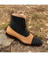 Handmade Suede Ankle Boot, Men's Two Tone Black Beige Boot, Men's Lace U... - $169.97+