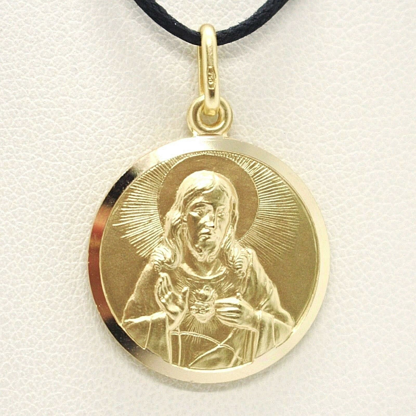 SOLID 18K YELLOW GOLD SACRED HEART OF JESUS 15 MM ROUND MEDAL, MADE IN ITALY