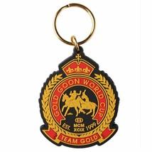 Gold Welt Tasse Schwarz Team Crest Doppelseitig Gummi Schlüsselring Kette GAC-8