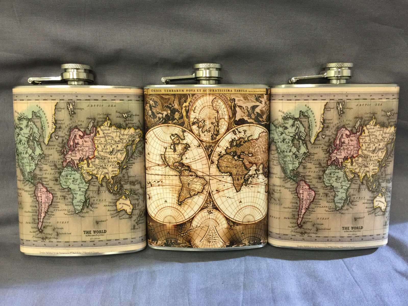 Set of 3 World Map D 3 & 4 Flask 8oz Stainless Steel Hip Drinking Whiskey