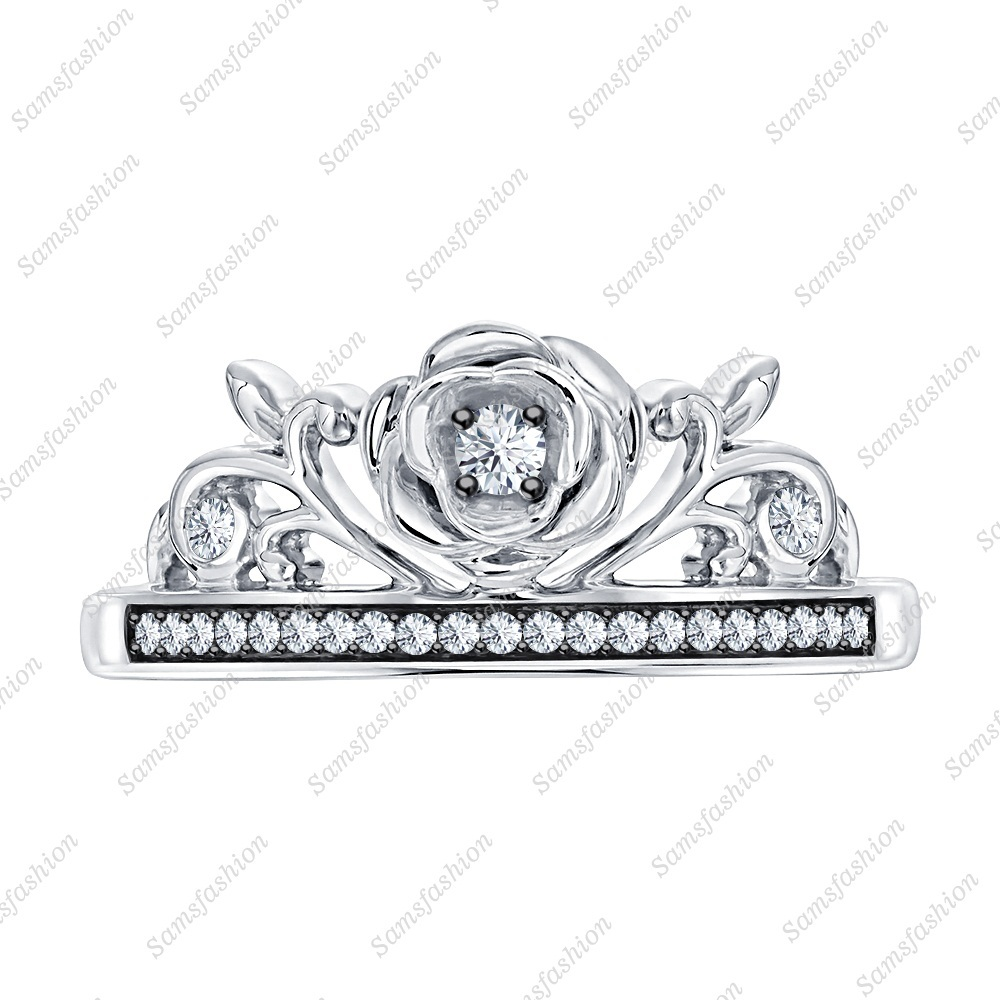 Primary image for Round White Diamond 14k White Gold Over 925 Silver Rose Flower Anniversary Ring