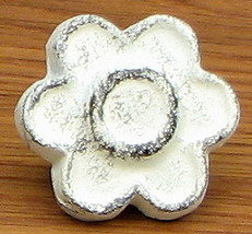 Set of 6 Cast Iron Antique White Flower Drawer Pulls, Cabinet Knobs - $18.80