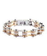 SK1196 Women's Stainless Steel Silver Gold Bling Bike Chain Bracelet USA... - $20.00