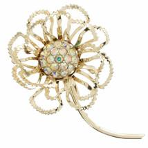"Vintage Sarah Coventry 3 1/2"" Rhinestone Flower Gold Tone Pin Brooch - $14.99"