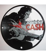 VINYL PLANET Wall Clock JOHNNY CASH  Home Record Unique Decor upcycled 12'' - $33.50
